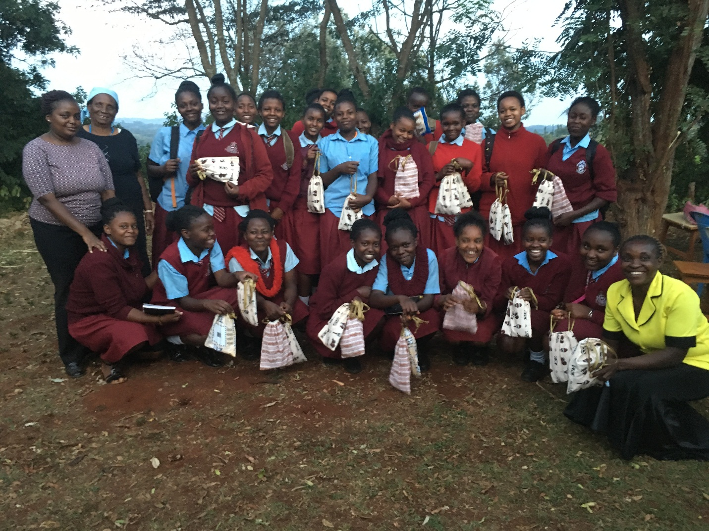 Distribution of recyclable sanitary Pads Kiini Sustainable Initiative